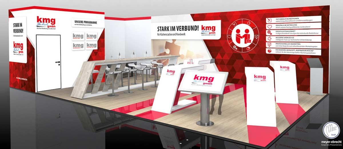 So wird der Messestand der kmg Zumbrock GmbH auf der Orderfachmesse area30 aussehen.